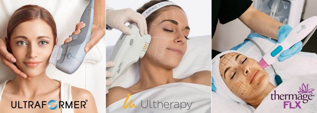 Non-invasive skin lifting and tightening treatment - Ultraformer, Ultherapy and Thermage FLX.